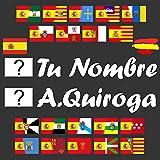 Kit 2 Pegatinas Vinilo Bandera España/Autonomica + Tu Nombre Texto Personalizado, Bandera Nombre o Texto y Color Personalizables, Bici, Casco, Pala De Padel, Monopatin, Coche, Moto, etc. - Vinilin
