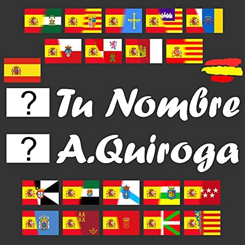 Kit 2 Pegatinas Vinilo Bandera España/Autonomica + Tu Nombre Texto Personalizado, Bandera...
