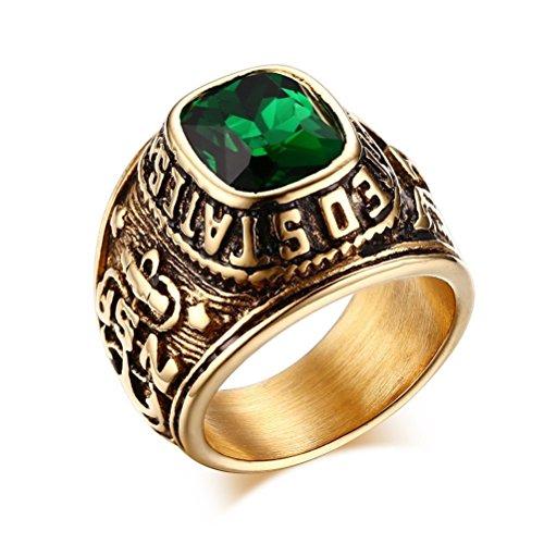 Vnox Anello da uomo in acciaio INOX placcato oro 18K con gemma verde, motivo veterani marina americana, con aquila e ancora, acciaio inossidabile, 19