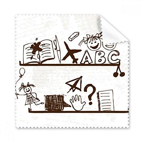 Papieren Vliegtuig Kinderen Leuke Handgetekende Illustratie Boekenplank College Bril Doek Schoonmaak Doek Gift Telefoon Scherm Cleaner 5 stks