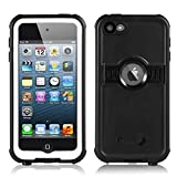 3C-Aone iPod 6/7 Waterproof Case, Waterproof Case for Apple iPod Touch 6th&7th Latest Model Generation for Boys Girls Kids, Better Shockproof Sweatproof, Kickstand for Viewing Hands Free (Black)