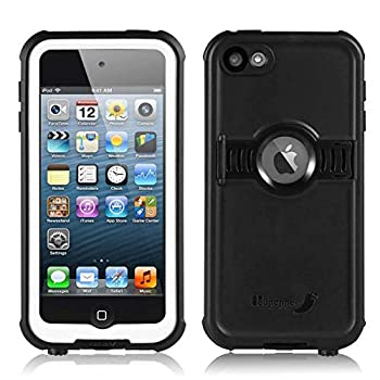3C-Aone iPod 6/7 Waterproof Case Waterproof Case for Apple iPod Touch 6th&7th Latest Model Generation for Boys Girls Kids Better Shockproof Sweatproof Kickstand for Viewing Hands Free  Black