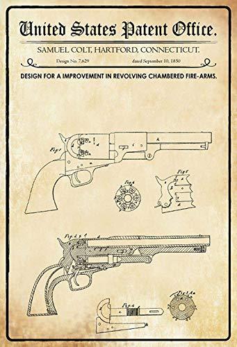 NWFS Patent Entwurf für Trommelrevolver Blechschild Metallschild Schild Metal Tin Sign gewölbt lackiert 20 x 30 cm