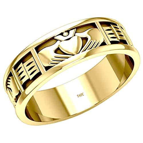 US Jewels Men's 14k Yellow Gold Irish Celtic Claddagh Wedding Ring Band, 9