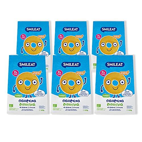 Smileat - Bolsitas de Galletas Ecológicas de Espelta y Fruta, Ingredientes Naturales - A Partir de los 6 Meses - Pack de 6 x 220g - 1320g