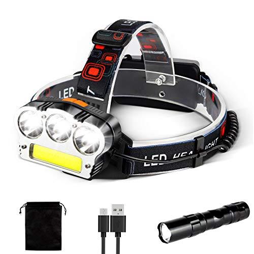 ZOYJITU LED Stirnlampe Super Hell Kopflampe 6000LM IPX4 Wasserdicht 90 ° Einstellbare 7 Modi USB Wiederaufladbare Kopfleuchte für Camping Wandern Joggen mit 2 Stück 18650 Batterie
