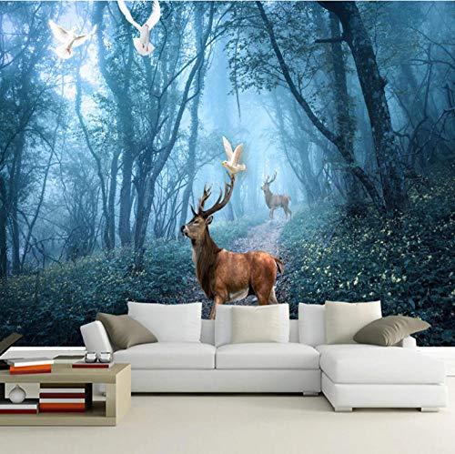 3D fotobehang wandafbeelding wandafbeelding bos, hert woonkamer TV sofa achtergrond behang moderne wooncultuur 300 x 210 cm