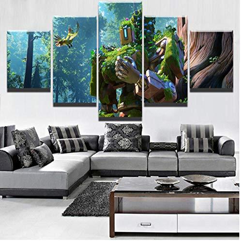 Moderne HD Gedruckt Home Wandkunst Dekorative Leinwand Malerei 5 Stücke Bastion Bilder Modulare Spiel Poster-200cm(W) x100cm(H)