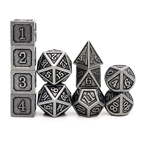 Haxtec Metal DND Dice Set D&D D6 D20 for Dungeons and Dragons TTRPG Games-Antique Iron 11PCS