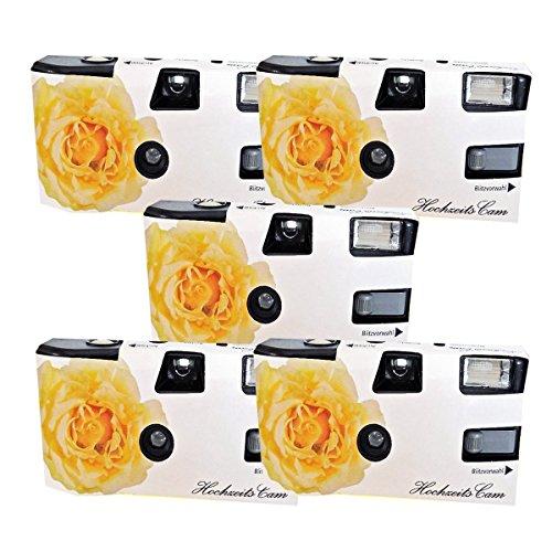 5 x PHOTO PORST matrimonio fotocamera usa e getta crema di colore matrimonio Rose (con Flash e batterie, da 27 foto, ISO 400 Fuji)