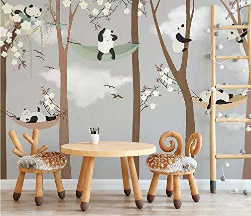 """3D Houten Panda Hangmat WG0763 Behang Afdrukken Decal Deco Binnen Muur Muurschildering Zelfklevend Behang AJ WALLPAPER NL Muzi (Vinyl (geen lijm en verwijderbaar), 【164""""x100""""】416x254cm(WxH))"""