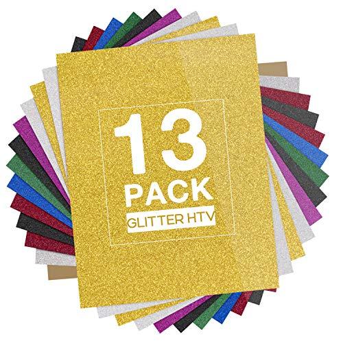 "HTVRONT Glitter Heat Transfer Vinyl HTV - 13 Pack 12""x10"" Iron On Vinyl for T-Shirt (Teflon Sheet Included), 9 Assorted Colors HTV Glitter Bundle of Heat Press Vinyl, Easy to Cut & Press"