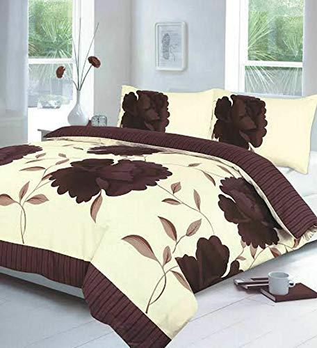 Night Zone Rosaleen (Cream/Chocolate) Duvet/Quilt Cover With Pillow Cases Bedding Set Printed Or Curtains Attractive Flower Designs Sold By National textile Ltd (Single Duvet cover Set)