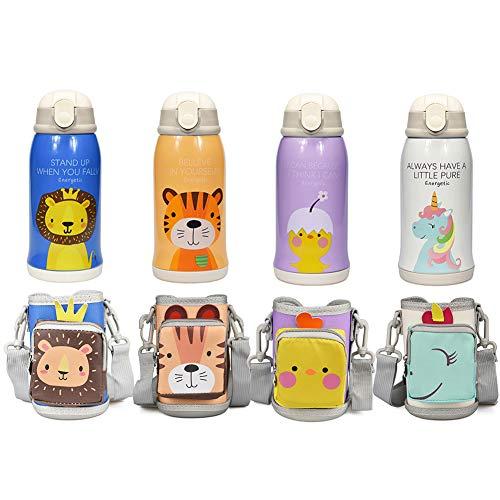 QUNUNOIRE-Portatile Borraccia in Acciaio Inox Termica Bottiglia d'Acqua Sportive per Mantenere Caldo e Freddo, Borracce Estate per Bambini Bimbo 550ML Unicorno