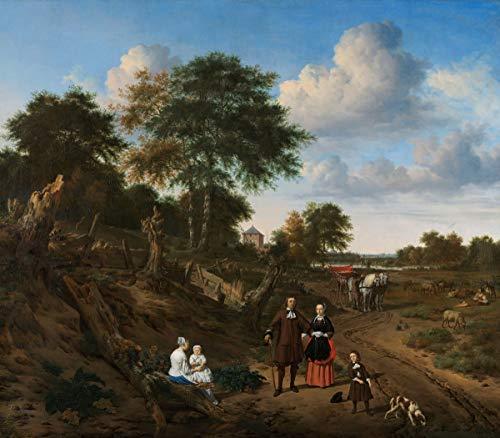 Adriaen Van De Velde Giclee Kunstdruckpapier Kunstdruck Kunstwerke Gemälde Reproduktion Poster Drucken(Porträt eines Paares mit zwei Kindern und einer Krankenschwester in einer Landschaft)