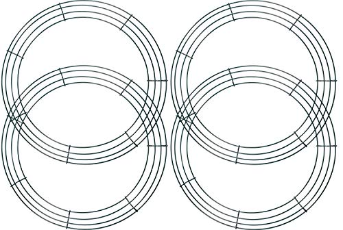 KAHEIGN 4Pcs Wire Wreath Frame, 14 Inch Wire Wreath Making Rings for Christmas New Year Valentines Decoration (Dark Green)