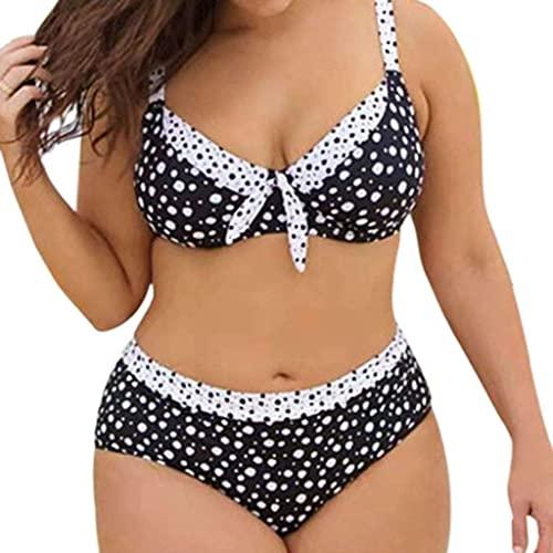 HMHMVM Bikini de mujer con estampado de lunares a rayas Split traje de baño Beachwear de talle alto más tamaño traje de baño