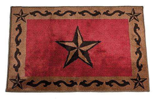 HiEnd Accents Western Star Kitchen and Bath Rug, 24 x36, Red