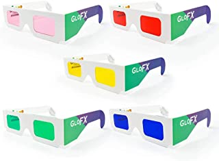 GloFX Color Therapy Paper Glasses - 5 Pack - Chakra Glasses Chromatherapy Glasses Light Therapy
