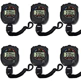 Pgzsy 6 Pack Multi-Function Electronic Digital Sport Stopwatch Timer, Large Display with Date Time...
