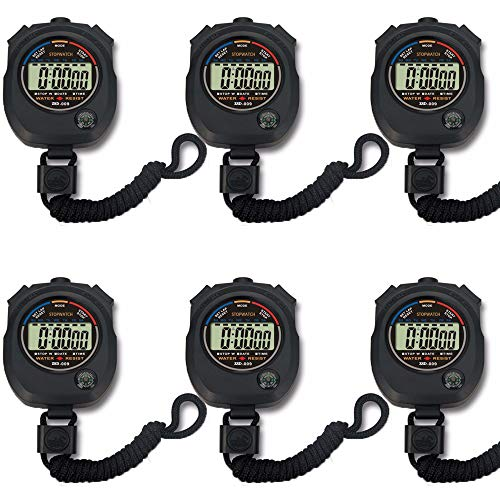 Pgzsy 6 Pack Multi-Function Electronic Digital Sport Stopwatch Timer, Large Display with Date Time and Alarm Function,Suitable for Sports Coaches Fitness Coaches and Referees