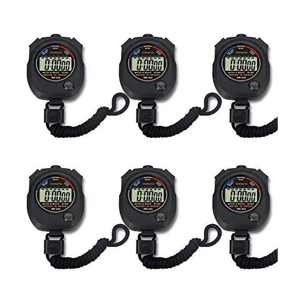 Pgzsy 6 Pack Multi-Function Electronic Digital Sport Stopwatch Timer, Large Display...