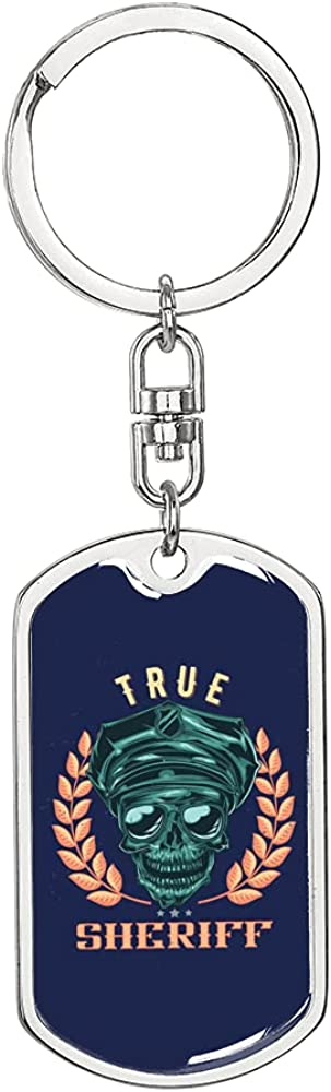 True Sheriff Keychain Stainless Steel or 18k Gold Dog Tag Keyring