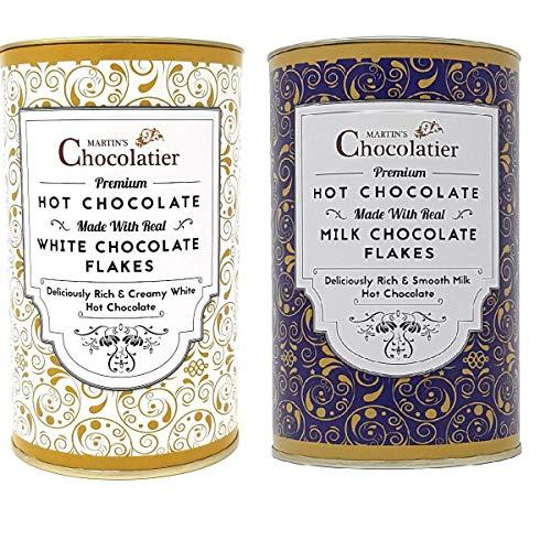 Martins Chocolatier Hot Chocolate Flakes   2 Pack   Milk Chocolate & White Chocolate   Gemaakt met Crushed Belgian…