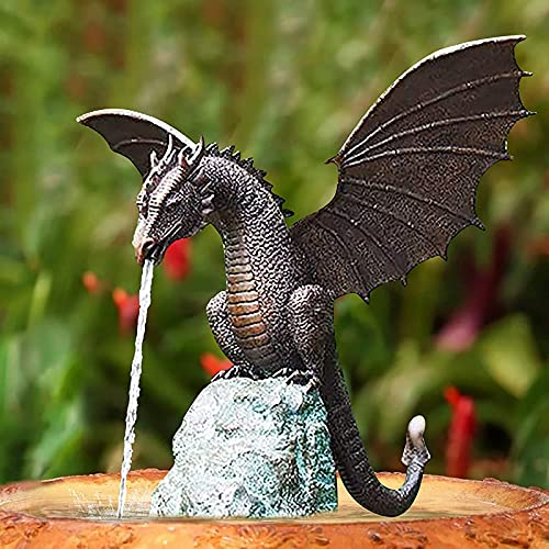 WANGQI Statue Brunnen Drache Statue Gartenfigur Garten Drache Patinierte Bronze Wasserbrunnen Skulptur Gartendeko Figuren Wasserspray Drachen Harz Wasserlandschaft Skulptur