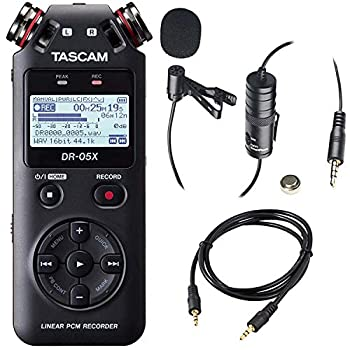 Tascam DR-05X 2-Input / 2-Track Portable Stereo Handheld Digital Audio Recorder and USB Audio Interface  Black  with Deluxe Accessory Bundle