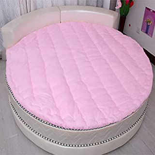 MSM Round Mattress, Thicken Quilted Soft Comfort Solid Color Bedroom Living Room Floor mat Futon Bed roll-Pink Diameter:220cm