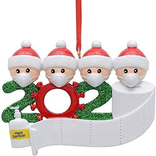 Adorno de familia sobrevivido Adornos de árbol de Navidad 2020 Adornos de adorno de Navidad, en cuarentena en casa Adorno de árbol de Navidad personalizado de la familia, Nochebuena (4 cabezas)