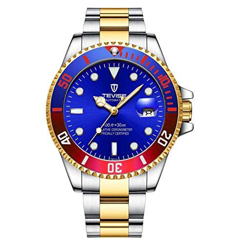 JTTM Reloj para Hombre Moda Automático Analógico De Cuarzo Reloj De Pulsera para Hombre Acero Inoxidable Deportivo Impermeable con Fecha Reloj De Pulsera,Colorful Blue