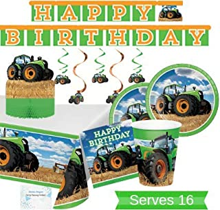 Farm Tractor Party Supplies and Decorations - Tractor Party Plates and Napkins Cups for 16 People - Includes Tractor Birthday Banner, Tablecloth and Tractor Centerpiece - Perfect Farm Tractor Party Birthday Decorations and John Deere Party Supplies!