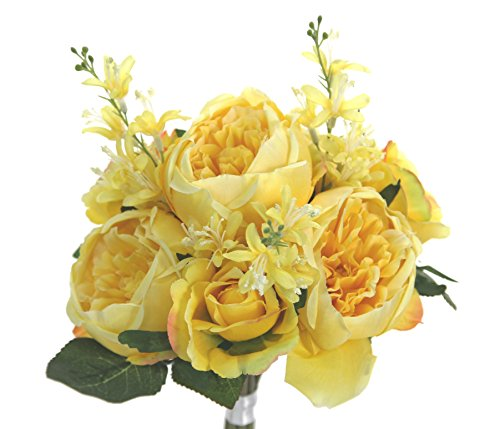 Admired By Nature 10 Stems Faux English Rose Bud Bouquet, Yellow Silk Flower Arrangements