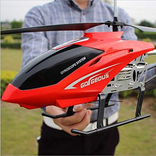 AORED RC Airplane The for Kids,80cm Body Drone Charging Electric Resistance to Fall Pressure Aircraft Outdoor Remote Control Alloy Helicopter 3.5CH Huge (Color : Red2)