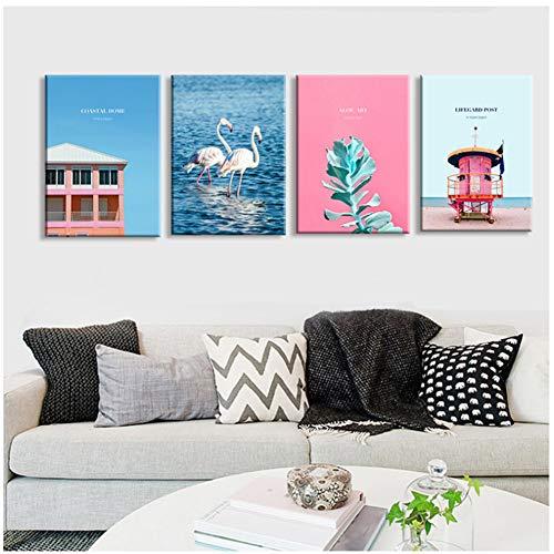 nr Moderne print blad wit strand huis zee landschap canvas schilderij kunst meisjes decoratie kamer slaapkamer ongekaderd roze -50x70cm geen lijst