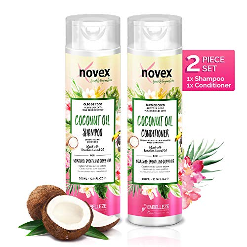 Novex Coconut Oil Shampoo & Conditioner Set - Infused with Pure 100% Organic Coconut Oil