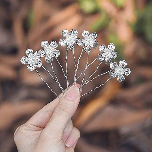 Zoestar Horquillas para el pelo de novia con diseño de flores y diamantes de imitación, para mujeres y niñas (paquete de 5) (plata)