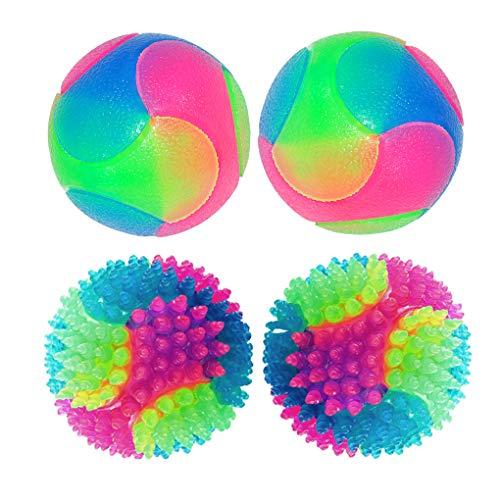 FineInno 4 pcs Blinkender Ball Hundespielzeug Ball Hundeball Leuchtend Glow Ball Hundespielball Ball Spielzeug für Hundes und Reinigen Sie Ihre Zähne (2 Stück Glatte Kugeln + 2 Stück Stichkugeln)