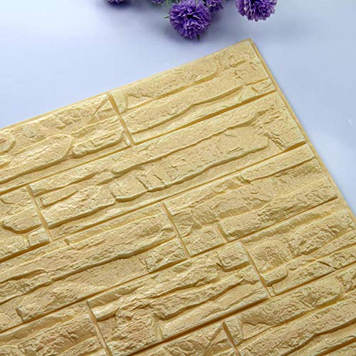 Home Decoration Self Adhesive 3D Brick Wall Stickers Stone Living Room Decor Foam Waterproof Panels Covering Wallpaper TV Background Kids Home (Color : Light Yellow, Size : 60X60cmX1pc)