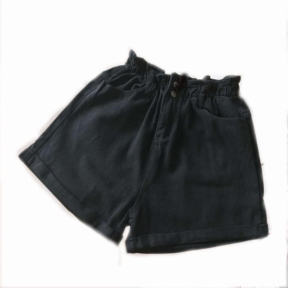 CDDKJDS Plus Size Summer Black Women S Denim Shorts Large Size 5XL Harem Ruffle White High Waisted Shorts Elastic Waist Jeans for Women (Color : Black, Size : Medium)