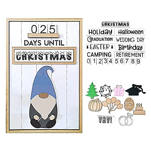 Interchangeable Gnome Countdown Calendar Table and Desk Unit, Halloween Countdown Calendar Magnetic, All Year Events Christmas Weeding Countdown Board for Office (Gnomo)