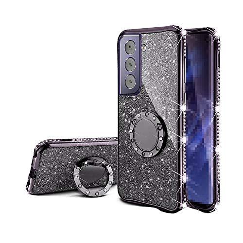 Galaxy S21 5G TPU ケース/カバー 透明カバー スマホリング付き 可愛い お洒落 ラメ ギャラクシー S21 5G ラインストーン きらきら おしゃれ アンドロイドスマホ スマートフォンケース/カバー[Galaxy S21 5G(ブラック)