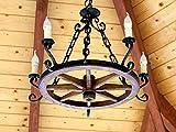 Rueda de madera–Lámpara de techo Rueda de carro Carruaje lámpara de techo antiguo Deko Hotel Posada Damasco)