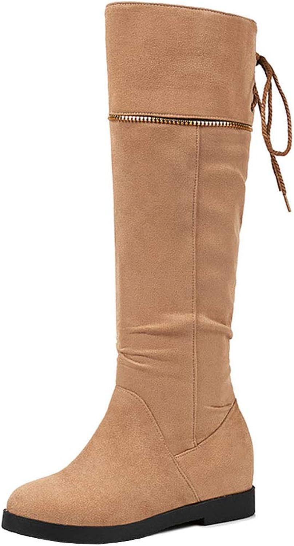 CularAcci Women Pull On Knee High Boots Wedge Heel