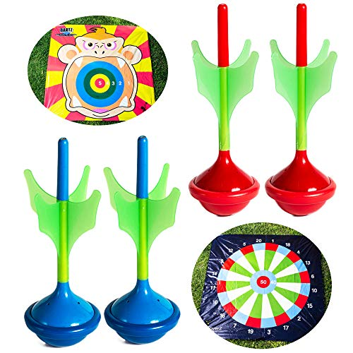 Toyerz Darts, 4 Lawn Darts Outdoor Games. Outdoor Games for Adults and Family. Backyard Family Games for Kids Outside Toys for Kids and Adults Lawn Games Beach Games Indoor Games Toss Games