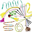Cat Teaser Wands Interactive Cat Toys Cat Wands with Sound Paper Tassels for Cat Kitten Having Fun Exerciser Playing 8 Pack