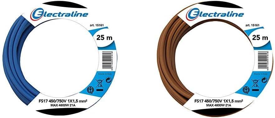 Electraline 13092Cable unipolar FS17, sección 1 x 1,5 mm², azul, 25 m + 13082Cable unipolar FS17, sección 1x 1.5mm², Marrón, 25m