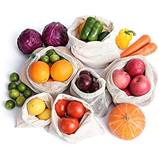 G.a HOMEFAVOR Cotton Mesh Produce Bags, Set of 6 Food Fruit Vegetables Bags with Tare Weight Reusable Organic Drawstring Bags for Shopping Grocery:Interdir